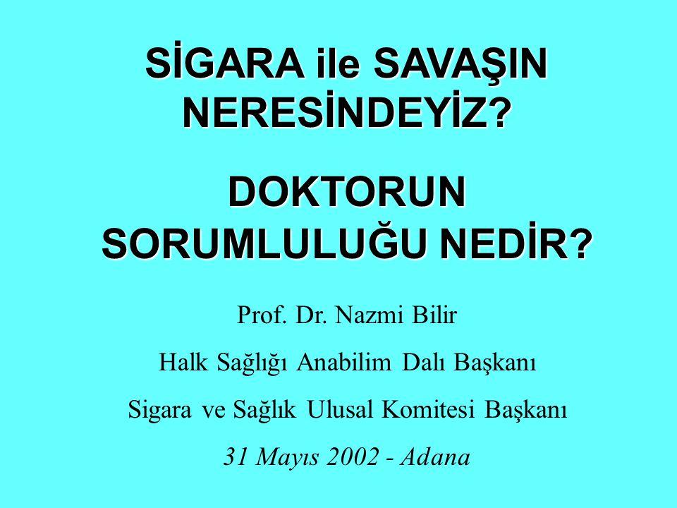 SİGARA ile SAVAŞIN NERESİNDEYİZ? DOKTORUN SORUMLULUĞU NEDİR? Prof. Dr. Nazmi Bilir Halk Sağlığı Anabilim Dalı Başkanı Sigara ve Sağlık Ulusal Komitesi