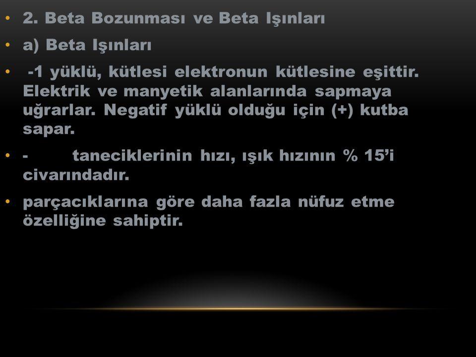 2. Beta Bozunması ve Beta Işınları a) Beta Işınları -1 yüklü, kütlesi elektronun kütlesine eşittir. Elektrik ve manyetik alanlarında sapmaya uğrarlar.