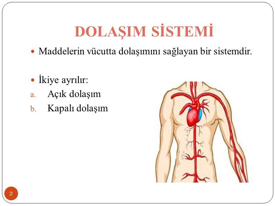 DOLAŞIM SİSTEMİ Maddelerin vücutta dolaşımını sağlayan bir sistemdir. İkiye ayrılır: a. Açık dolaşım b. Kapalı dolaşım 2