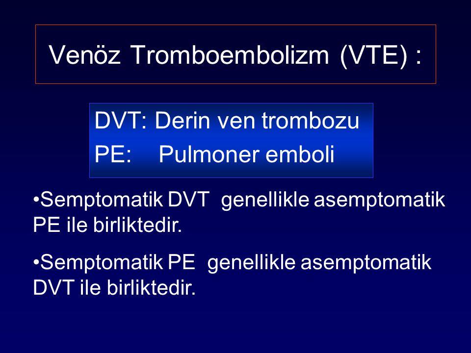 USA'da yıllık VTE insidansı Ölüm Pulmoner Hipertansiyon Pulmoner Emboli Post-trombotik sendrom Semptomatik DVT Asemptomatik DVT 60 000 1 30 000 2 600 000 1 800 000 3,4 2 milyon 1 1.