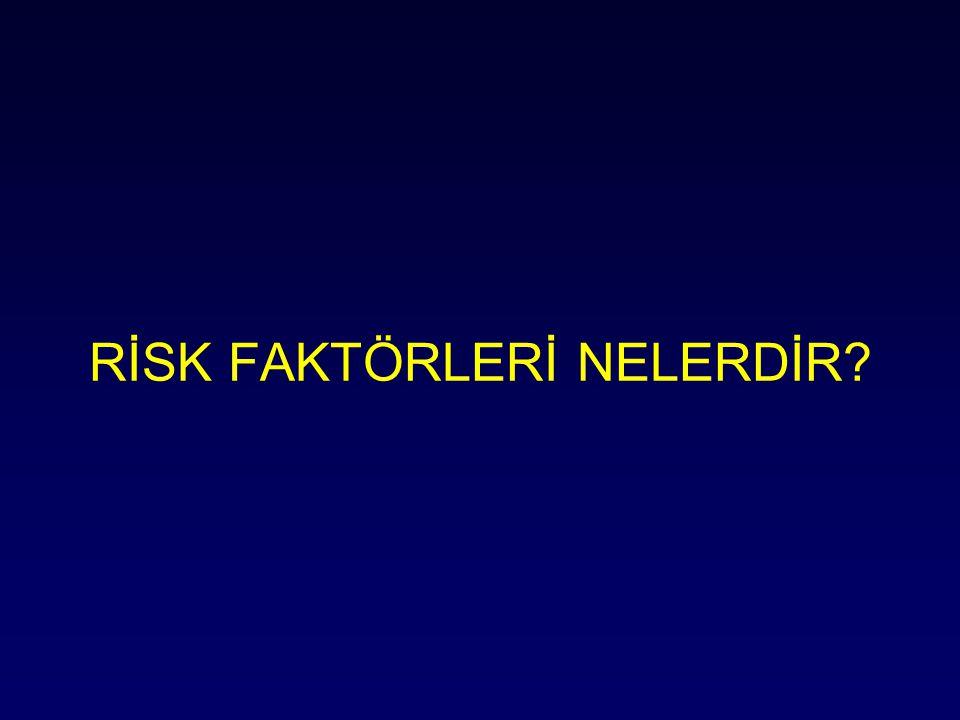 Edinsel: –yaş –uzun immobilizasyon / travma / cerrahi –kanser –geçirilmiş VTE –komorbiditeler /obezite –gebelik/ postpartum –oral kontraseptif / HRT –santral venöz katater –antifosfolipid antikorları –uzun yolculuklar Risk faktörleri Kalıtsal: –Faktör V Leiden –protrombin G20210 –protein C eksikliği –protein S eksikliği –antitrombin III eksikliği Edinsel / Kalıtsal: –Hiperhomosisteinemi –Faktör VIII yüksekliği –FaktörXI yüksekliği –Faktör IX yüksekliği –Fibrinojen yüksekliği Franco RF.Hum Genet.2001