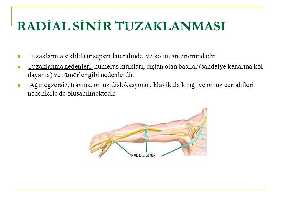 RADİAL SİNİR TUZAKLANMASI Tuzaklanma sıklıkla trisepsin lateralinde ve kolun anteriorundadır. Tuzaklanma nedenleri; humerus kırıkları, dıştan olan bas