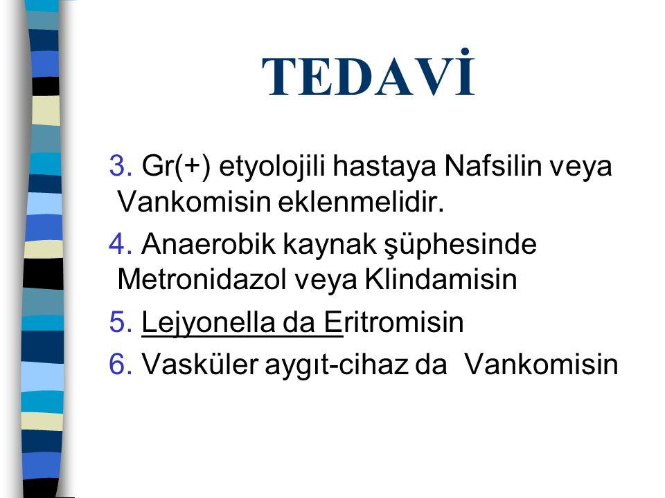 TEDAVİ 3.Gr(+) etyolojili hastaya Nafsilin veya Vankomisin eklenmelidir.