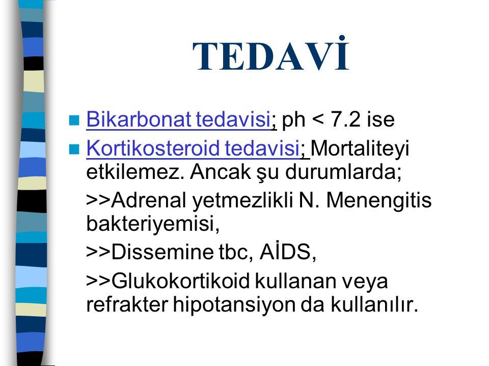 TEDAVİ Bikarbonat tedavisi; ph < 7.2 ise Kortikosteroid tedavisi; Mortaliteyi etkilemez.