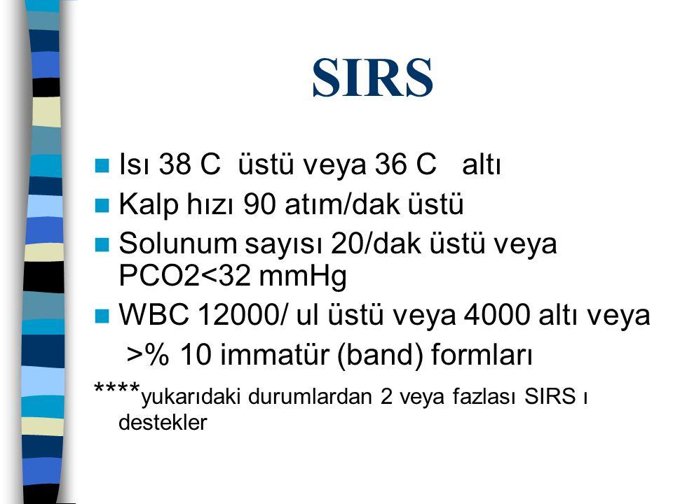 SIRS Isı 38 C üstü veya 36 C altı Kalp hızı 90 atım/dak üstü Solunum sayısı 20/dak üstü veya PCO2<32 mmHg WBC 12000/ ul üstü veya 4000 altı veya >% 10 immatür (band) formları **** yukarıdaki durumlardan 2 veya fazlası SIRS ı destekler