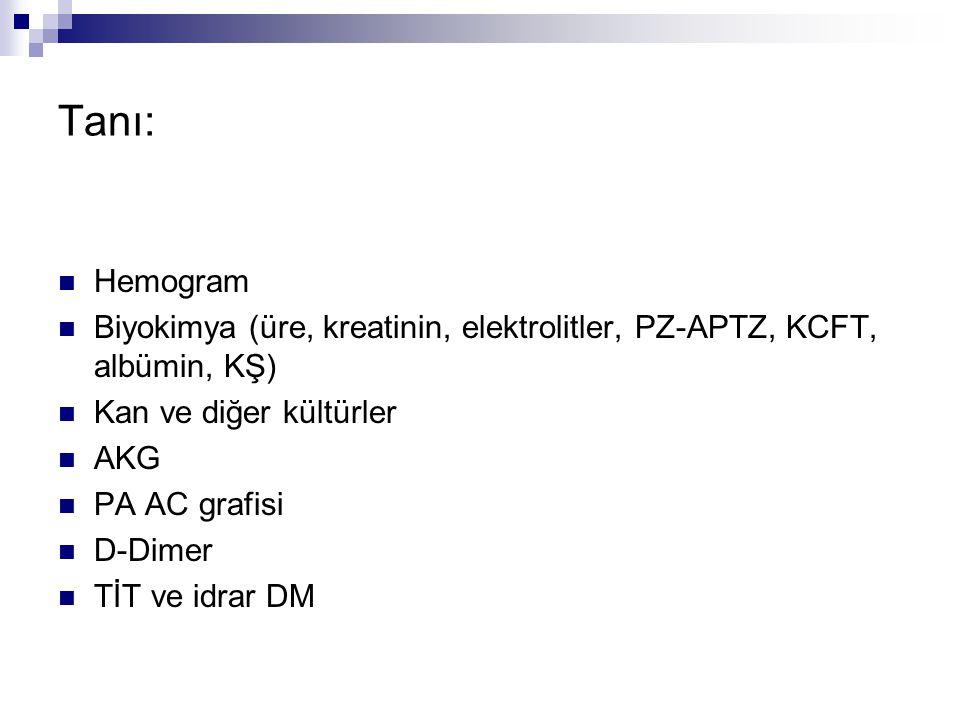 Tanı: Hemogram Biyokimya (üre, kreatinin, elektrolitler, PZ-APTZ, KCFT, albümin, KŞ) Kan ve diğer kültürler AKG PA AC grafisi D-Dimer TİT ve idrar DM