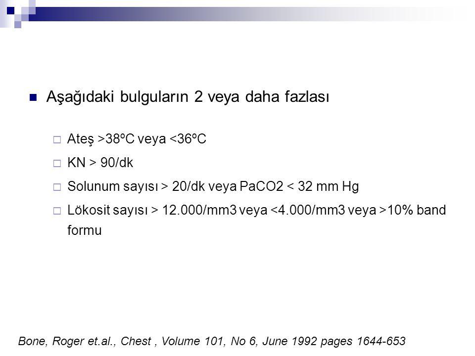 Aşağıdaki bulguların 2 veya daha fazlası  Ateş >38ºC veya <36ºC  KN > 90/dk  Solunum sayısı > 20/dk veya PaCO2 < 32 mm Hg  Lökosit sayısı > 12.000