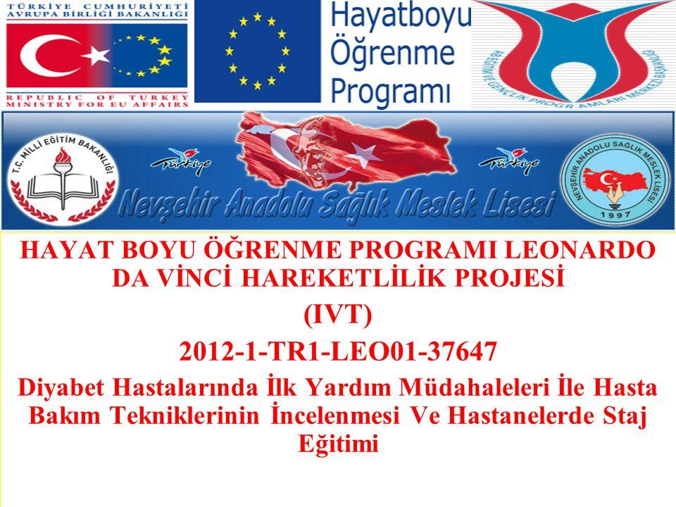 HAYAT BOYU ÖĞRENME PROGRAMI LEONARDO DA VİNCİ HAREKETLİLİK PROJESİ (IVT) 2012-1-TR1-LEO01-37647 Diyabet Hastalarında İlk Yardım Müdahaleleri İle Hasta