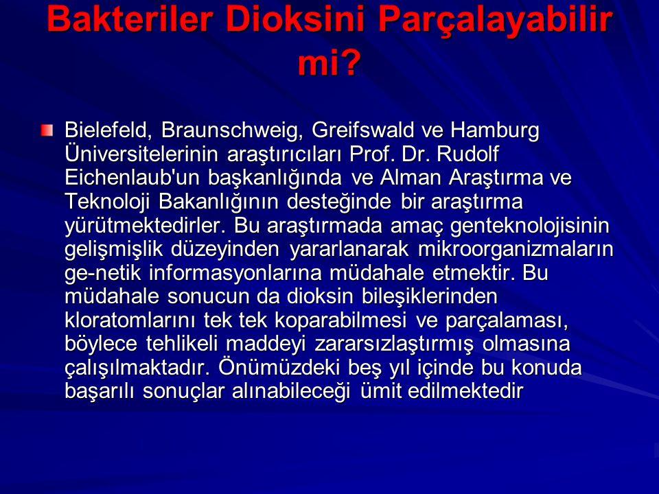 Bakteriler Dioksini Parçalayabilir mi? Bielefeld, Braunschweig, Greifswald ve Hamburg Üniversitelerinin araştırıcıları Prof. Dr. Rudolf Eichenlaub'un
