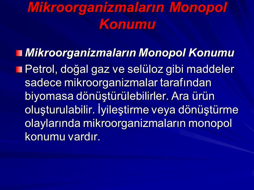 Mikroorganizmaların Monopol Konumu Petrol, doğal gaz ve selüloz gibi maddeler sadece mikroorganizmalar tarafından biyomasa dönüştürülebilirler. Ara ür