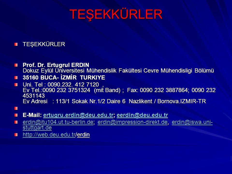TEŞEKKÜRLER TEŞEKKÜRLER Prof. Dr. Ertugrul ERDIN Dokuz Eylül Üniversitesi Mühendislik Fakültesi Cevre Mühendisligi Bölümü 35160 BUCA- İZMİR TURKIYE Un
