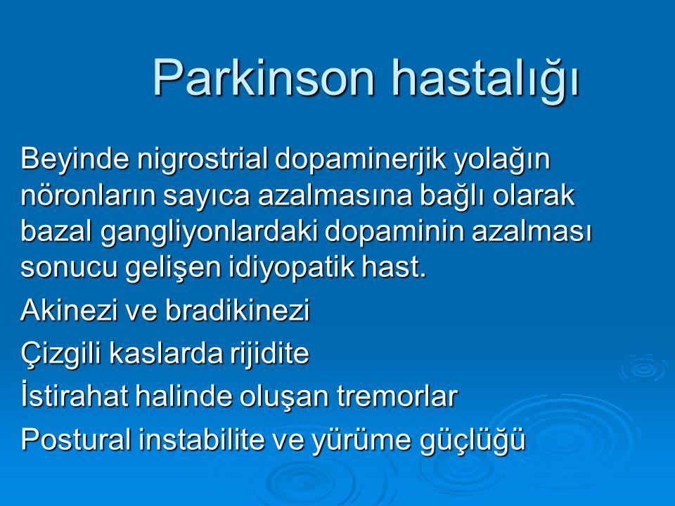 Parkinson hastalığı Beyinde nigrostrial dopaminerjik yolağın nöronların sayıca azalmasına bağlı olarak bazal gangliyonlardaki dopaminin azalması sonuc