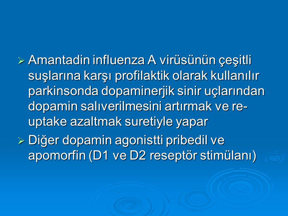  Amantadin influenza A virüsünün çeşitli suşlarına karşı profilaktik olarak kullanılır parkinsonda dopaminerjik sinir uçlarından dopamin salıverilmes