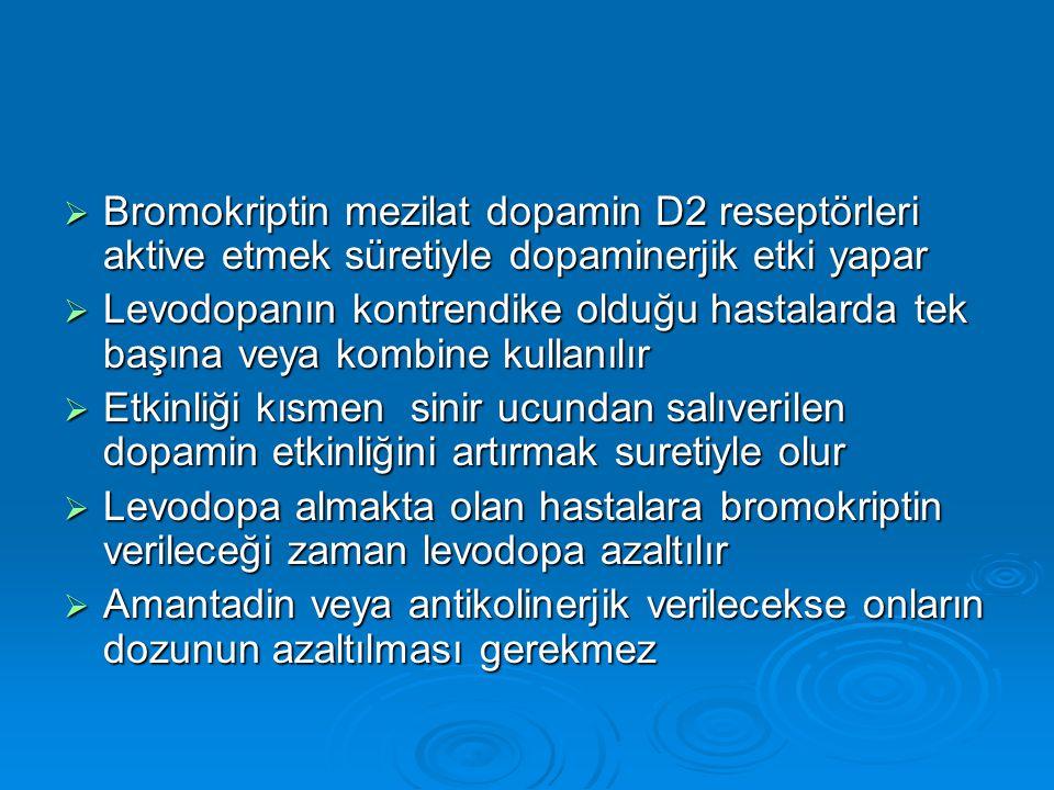  Bromokriptin mezilat dopamin D2 reseptörleri aktive etmek süretiyle dopaminerjik etki yapar  Levodopanın kontrendike olduğu hastalarda tek başına v