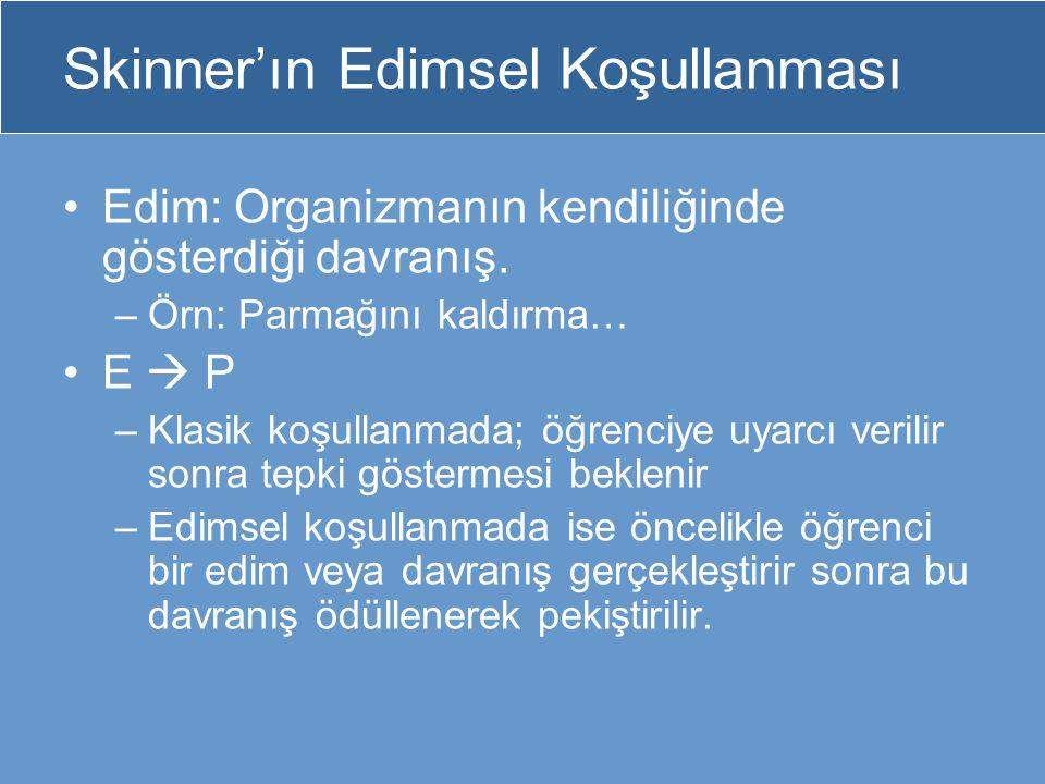 Skinner'ın Edimsel Koşullanması Edim: Organizmanın kendiliğinde gösterdiği davranış. –Örn: Parmağını kaldırma… E  P –Klasik koşullanmada; öğrenciye u