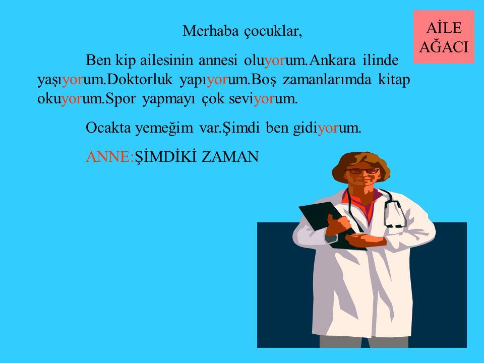 Merhaba çocuklar, Ben kip ailesinin annesi oluyorum.Ankara ilinde yaşıyorum.Doktorluk yapıyorum.Boş zamanlarımda kitap okuyorum.Spor yapmayı çok seviyorum.