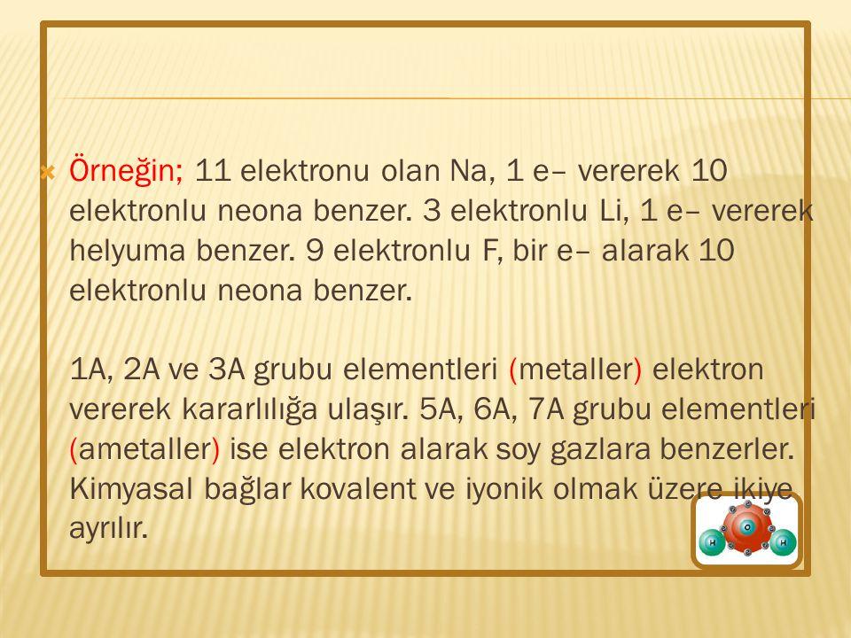  Örneğin; 11 elektronu olan Na, 1 e– vererek 10 elektronlu neona benzer. 3 elektronlu Li, 1 e– vererek helyuma benzer. 9 elektronlu F, bir e– alarak