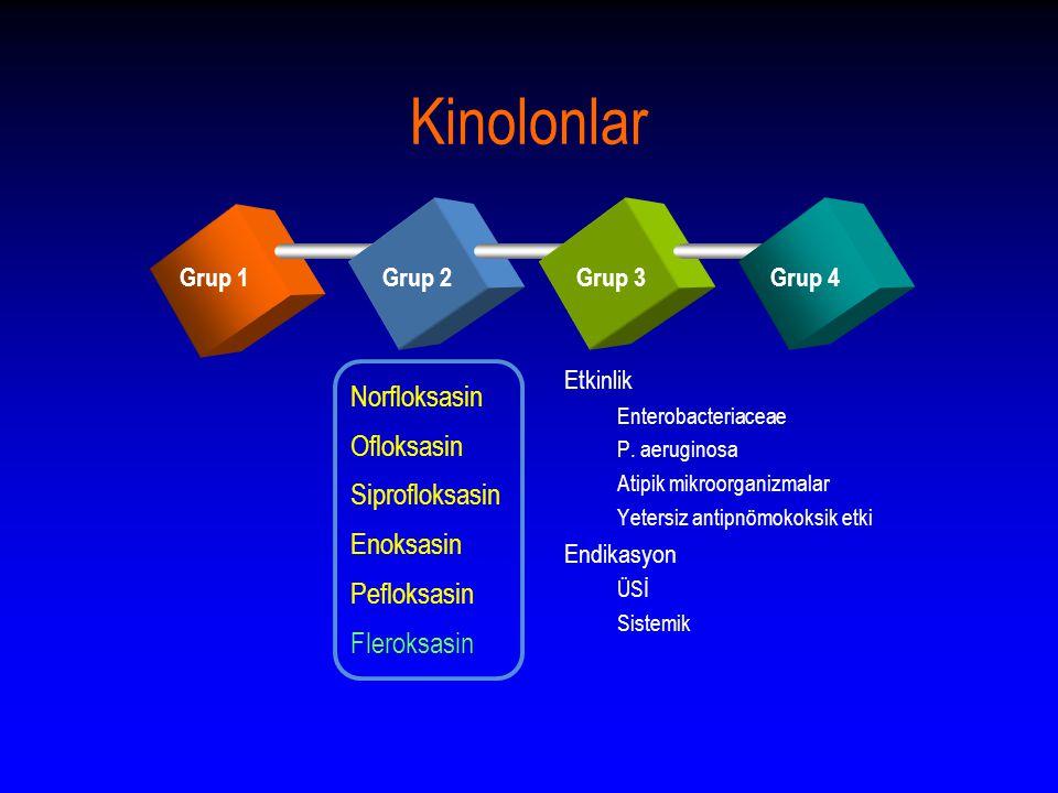 Kinolonlar Grup 1Grup 2Grup 3Grup 4 Norfloksasin Ofloksasin Siprofloksasin Enoksasin Pefloksasin Fleroksasin Etkinlik Enterobacteriaceae P.