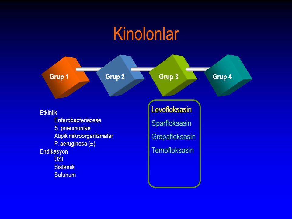 Kinolonlar Grup 1Grup 2Grup 3Grup 4 Levofloksasin Sparfloksasin Grepafloksasin Temofloksasin Etkinlik Enterobacteriaceae S.