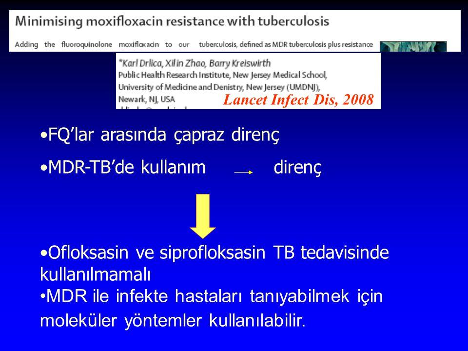 FQ'lar arasında çapraz direnç MDR-TB'de kullanımdirenç Ofloksasin ve siprofloksasin TB tedavisinde kullanılmamalı MDR ile infekte hastaları tanıyabilmek için moleküler yöntemler kullanılabilir.
