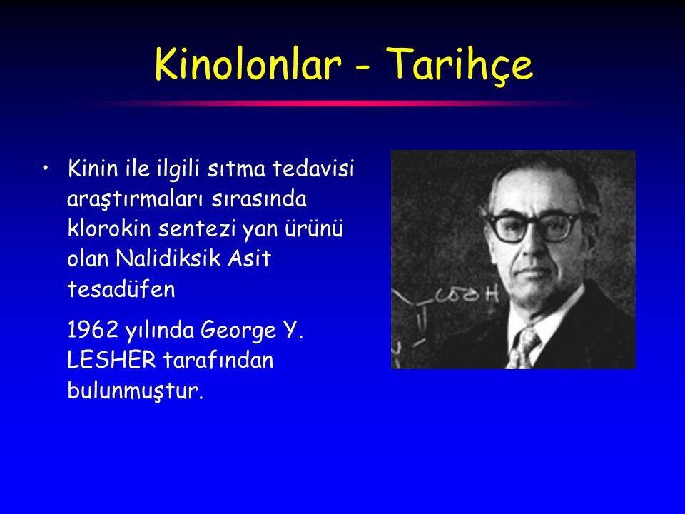 Kinolonlar - Tarihçe Kinin ile ilgili sıtma tedavisi araştırmaları sırasında klorokin sentezi yan ürünü olan Nalidiksik Asit tesadüfen 1962 yılında George Y.