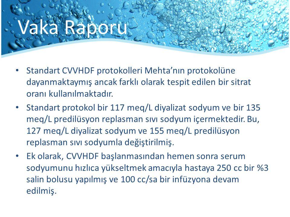 Vaka Raporu Standart CVVHDF protokolleri Mehta'nın protokolüne dayanmaktaymış ancak farklı olarak tespit edilen bir sitrat oranı kullanılmaktadır. Sta