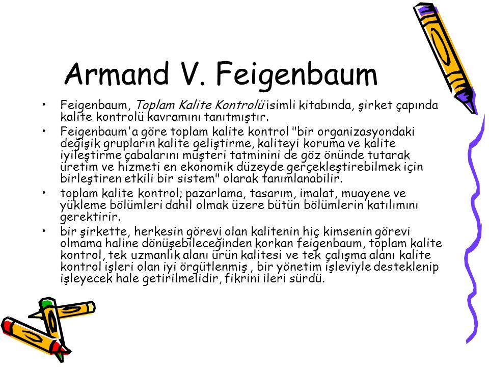 Armand V. Feigenbaum Feigenbaum, Toplam Kalite Kontrolü isimli kitabında, şirket çapında kalite kontrolü kavramını tanıtmıştır. Feigenbaum'a göre topl