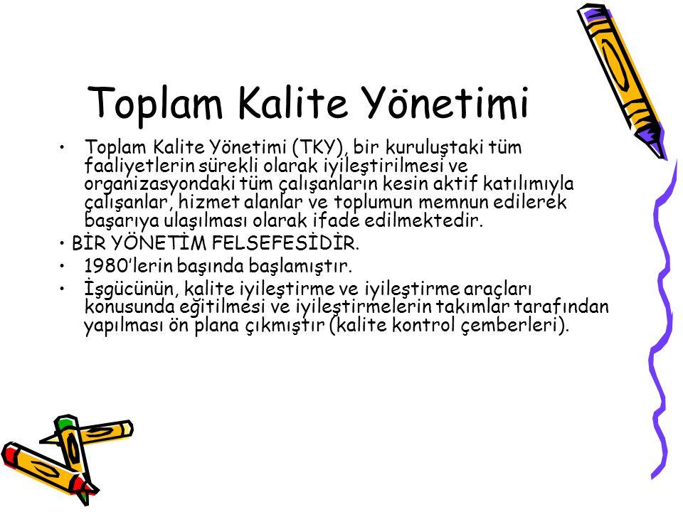 Toplam Kalite Yönetimi Toplam Kalite Yönetimi (TKY), bir kuruluştaki tüm faaliyetlerin sürekli olarak iyileştirilmesi ve organizasyondaki tüm çalışanl