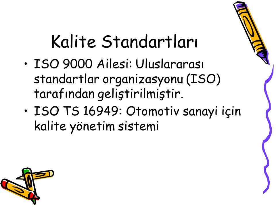 Kalite Standartları ISO 9000 Ailesi: Uluslararası standartlar organizasyonu (ISO) tarafından geliştirilmiştir. ISO TS 16949: Otomotiv sanayi için kali