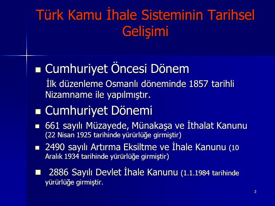 2 Türk Kamu İhale Sisteminin Tarihsel Gelişimi Cumhuriyet Öncesi Dönem Cumhuriyet Öncesi Dönem İlk düzenleme Osmanlı döneminde 1857 tarihli Nizamname