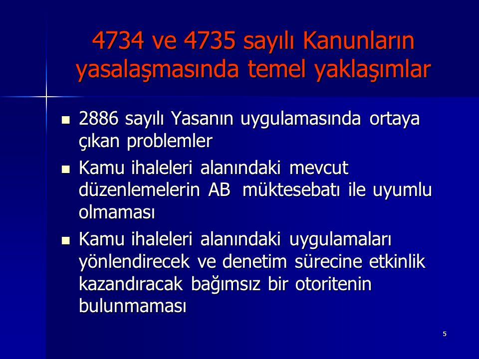 5 4734 ve 4735 sayılı Kanunların yasalaşmasında temel yaklaşımlar 2886 sayılı Yasanın uygulamasında ortaya çıkan problemler 2886 sayılı Yasanın uygula