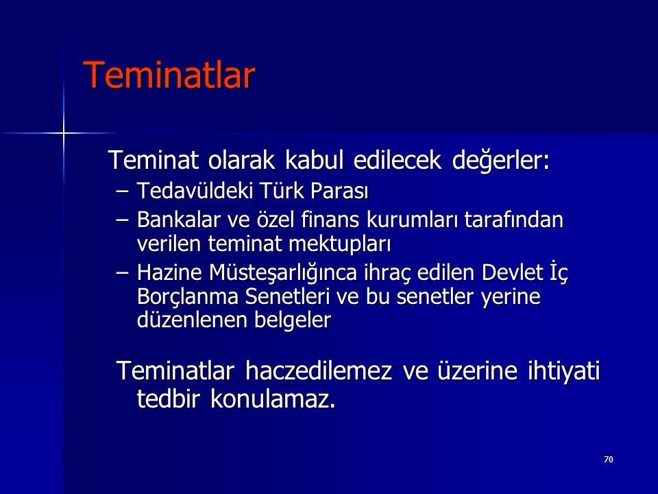 70 Teminatlar Teminat olarak kabul edilecek değerler: –Tedavüldeki Türk Parası –Bankalar ve özel finans kurumları tarafından verilen teminat mektuplar