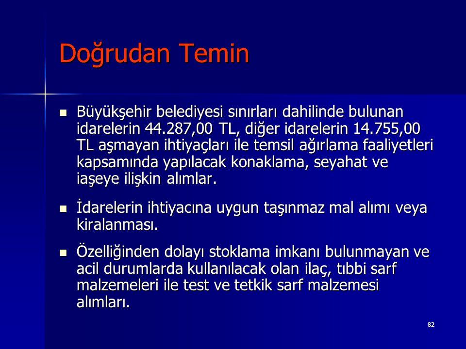 82 Doğrudan Temin Büyükşehir belediyesi sınırları dahilinde bulunan idarelerin 44.287,00 TL, diğer idarelerin 14.755,00 TL aşmayan ihtiyaçları ile tem