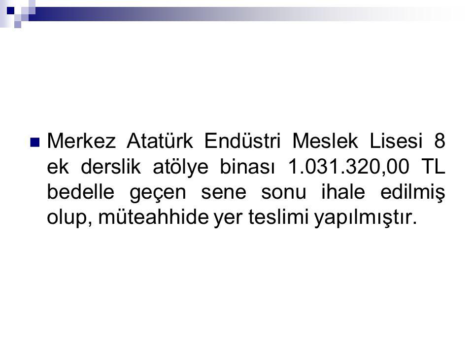 Merkez Atatürk Endüstri Meslek Lisesi 8 ek derslik atölye binası 1.031.320,00 TL bedelle geçen sene sonu ihale edilmiş olup, müteahhide yer teslimi ya