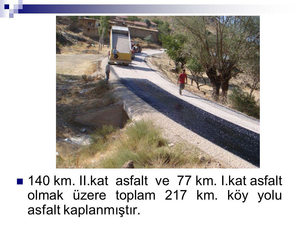 140 km. II.kat asfalt ve 77 km. I.kat asfalt olmak üzere toplam 217 km. köy yolu asfalt kaplanmıştır.