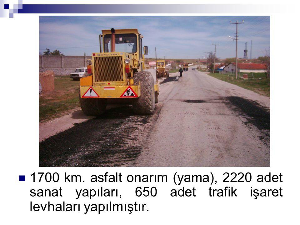 1700 km. asfalt onarım (yama), 2220 adet sanat yapıları, 650 adet trafik işaret levhaları yapılmıştır.