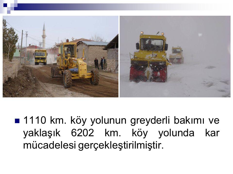 1110 km. köy yolunun greyderli bakımı ve yaklaşık 6202 km. köy yolunda kar mücadelesi gerçekleştirilmiştir.