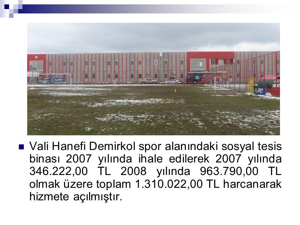 Vali Hanefi Demirkol spor alanındaki sosyal tesis binası 2007 yılında ihale edilerek 2007 yılında 346.222,00 TL 2008 yılında 963.790,00 TL olmak üzere