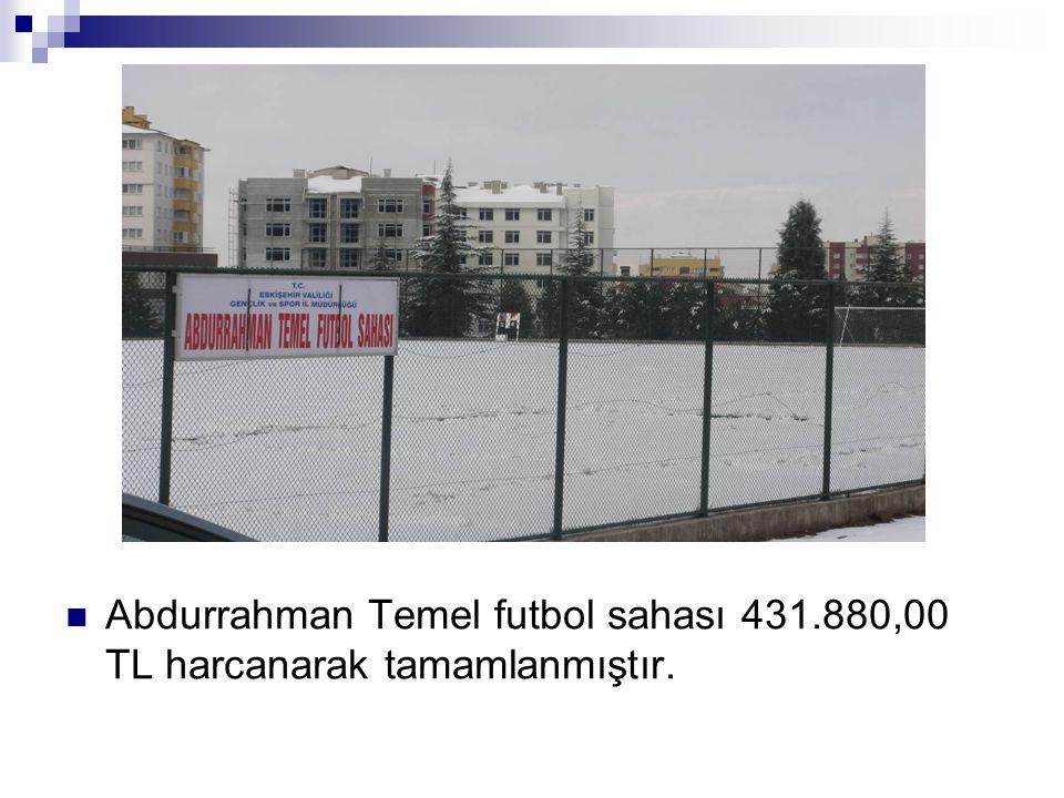 Abdurrahman Temel futbol sahası 431.880,00 TL harcanarak tamamlanmıştır.