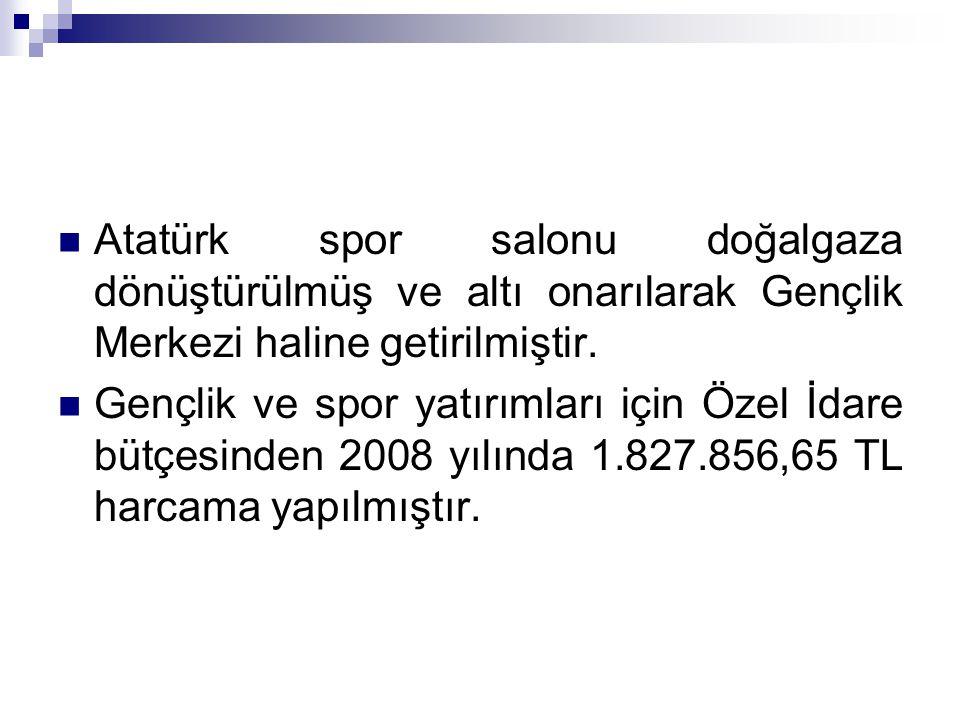 Atatürk spor salonu doğalgaza dönüştürülmüş ve altı onarılarak Gençlik Merkezi haline getirilmiştir. Gençlik ve spor yatırımları için Özel İdare bütçe