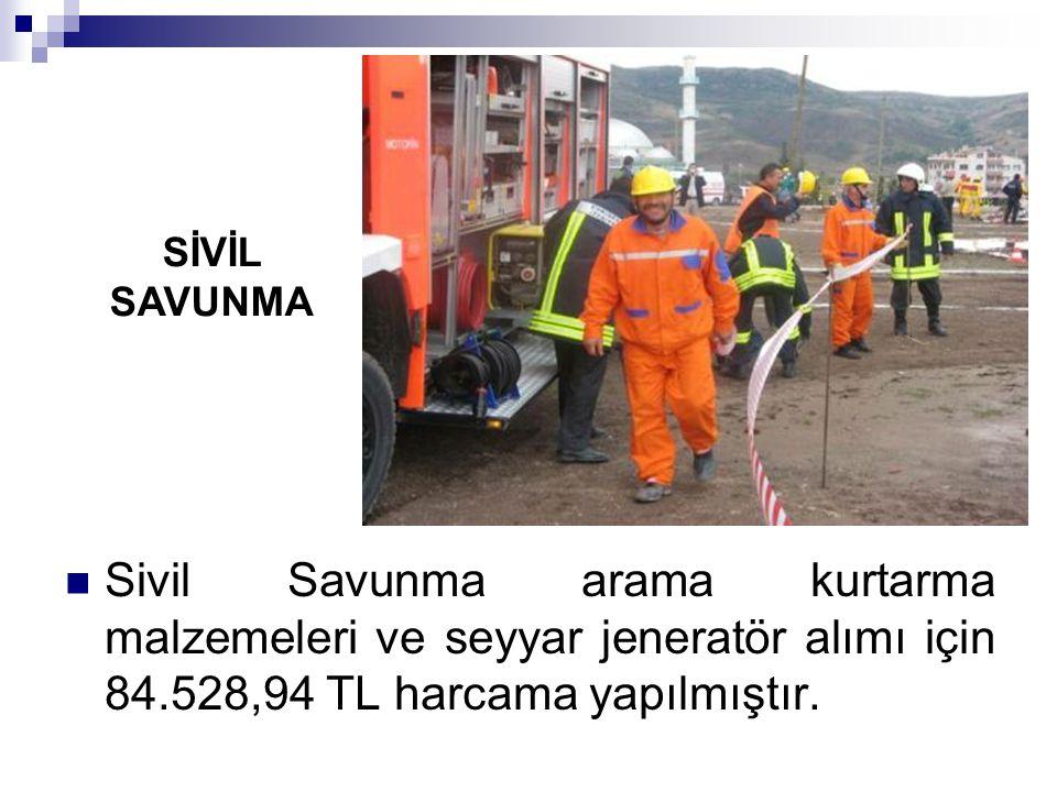 Sivil Savunma arama kurtarma malzemeleri ve seyyar jeneratör alımı için 84.528,94 TL harcama yapılmıştır. SİVİL SAVUNMA