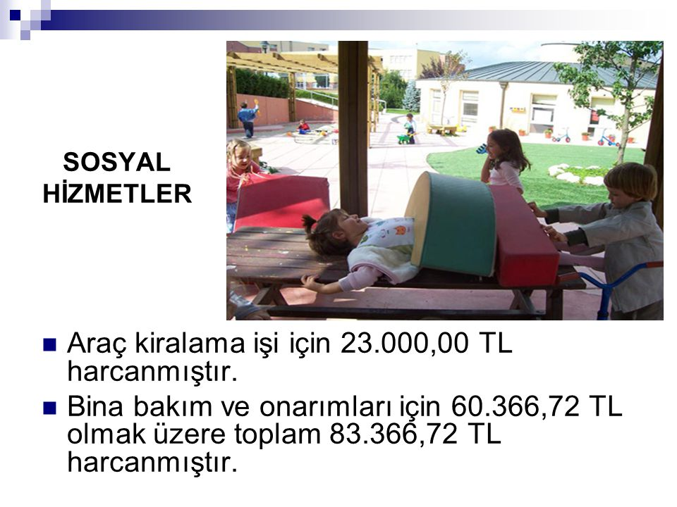 SOSYAL HİZMETLER Araç kiralama işi için 23.000,00 TL harcanmıştır. Bina bakım ve onarımları için 60.366,72 TL olmak üzere toplam 83.366,72 TL harcanmı