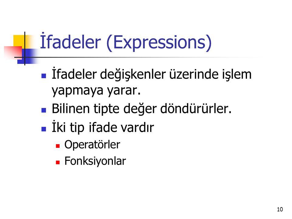 10 İfadeler (Expressions) İfadeler değişkenler üzerinde işlem yapmaya yarar. Bilinen tipte değer döndürürler. İki tip ifade vardır Operatörler Fonksiy