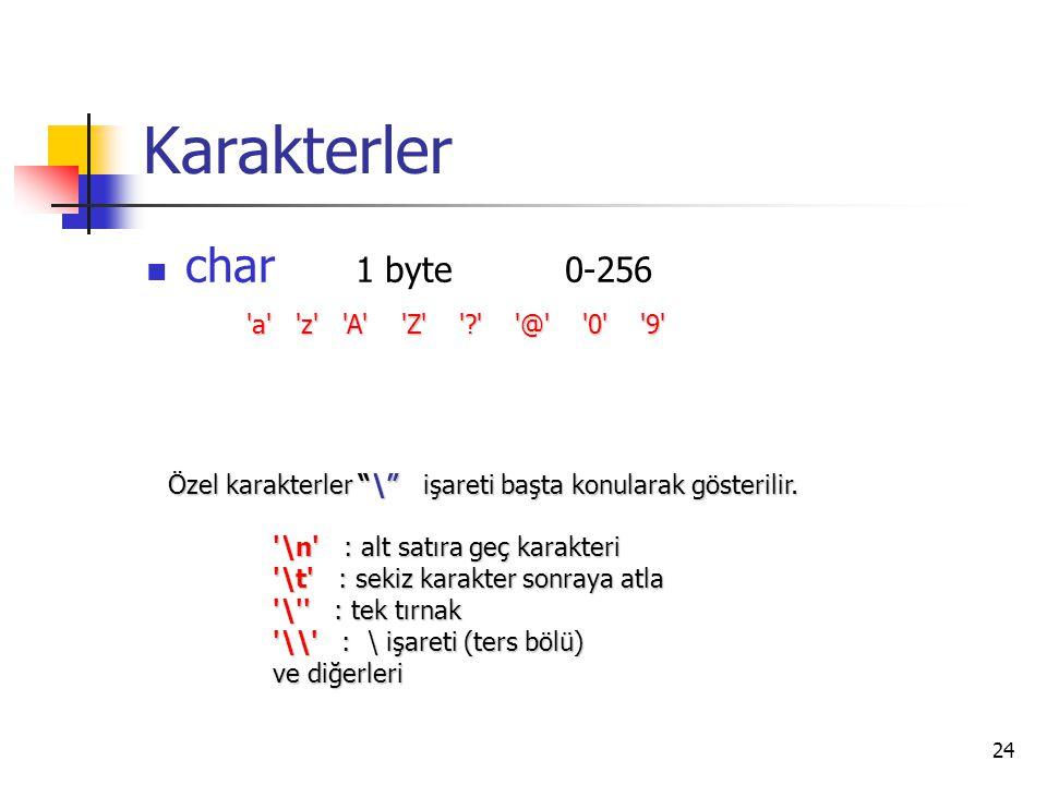 """24 Karakterler char 1 byte0-256 'a' 'z' 'A' 'Z' '?' '@' '0' '9' Özel karakterler """"\"""" işareti başta konularak gösterilir. '\n' : alt satıra geç karakte"""