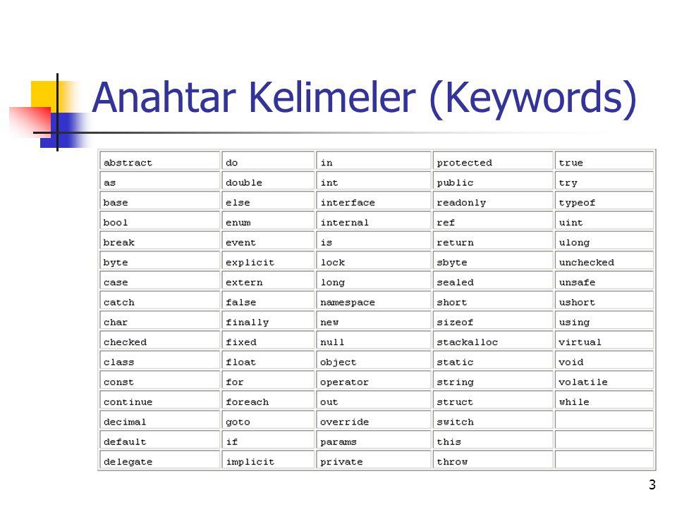 24 Karakterler char 1 byte0-256 a z A Z ? @ 0 9 Özel karakterler \ işareti başta konularak gösterilir.