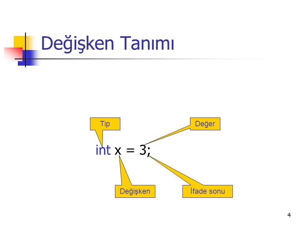 4 Değişken Tanımı int x = 3; Tip Değişken Değer İfade sonu