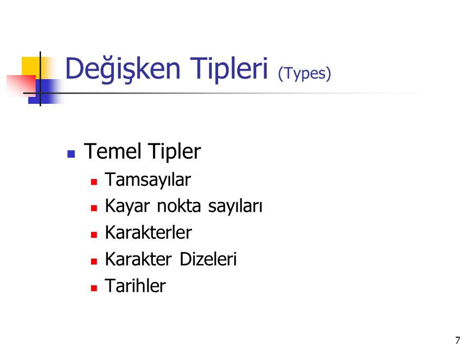 7 Değişken Tipleri (Types) Temel Tipler Tamsayılar Kayar nokta sayıları Karakterler Karakter Dizeleri Tarihler