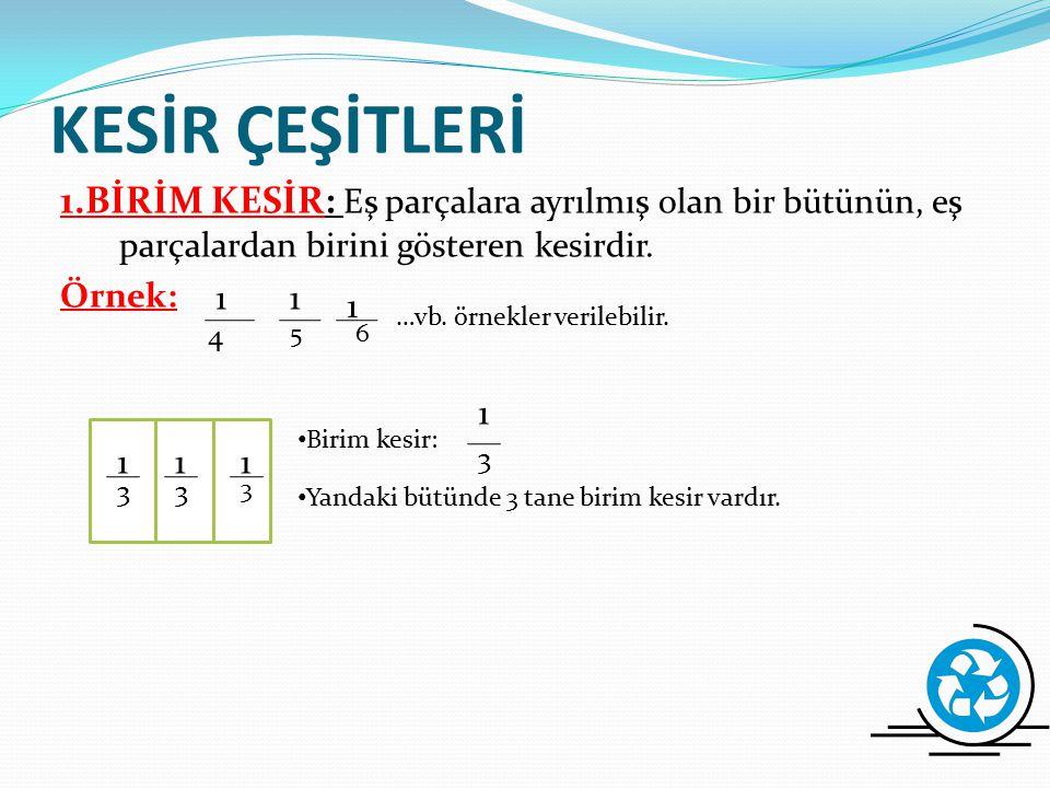 KESİRLER a ve b birer doğal sayı,b=0 olmak üzere a\b şeklinde yazılan sayılara kesir denir. Kesirler bir bütünün parçasını göstermek için kullanılır.
