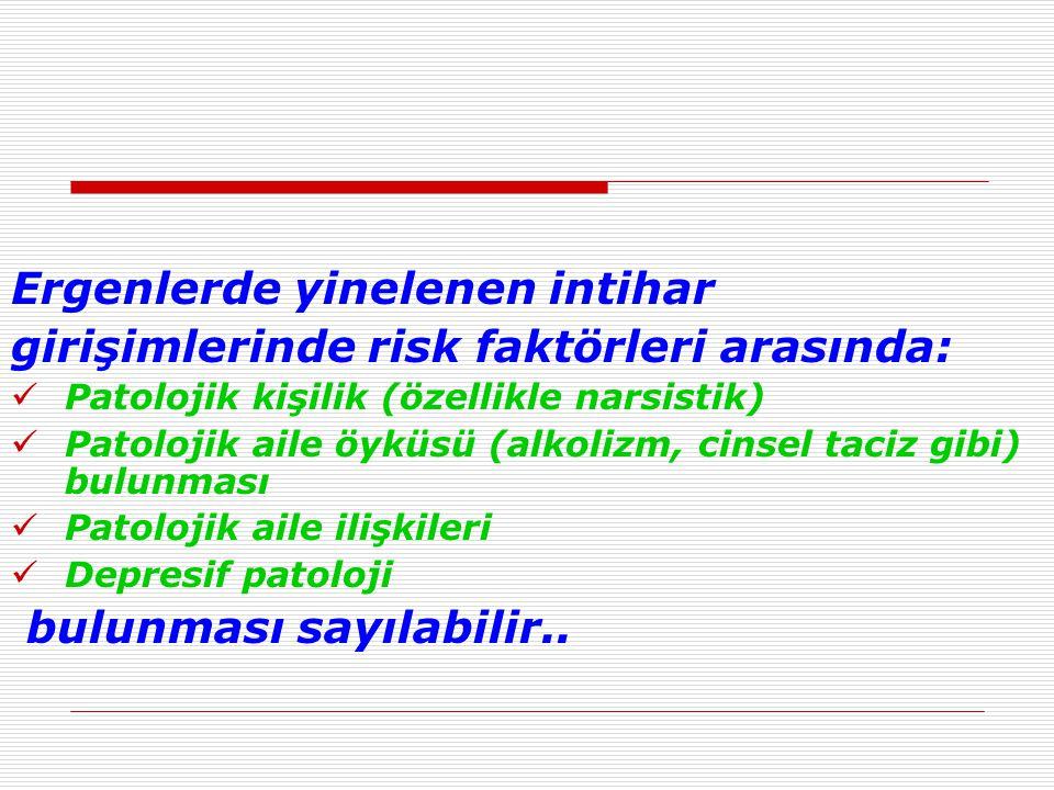 Ergenlerde yinelenen intihar girişimlerinde risk faktörleri arasında: Patolojik kişilik (özellikle narsistik) Patolojik aile öyküsü (alkolizm, cinsel