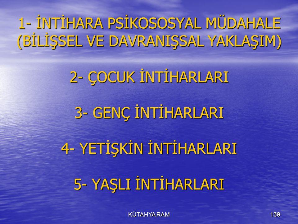 KÜTAHYA RAM139 1- İNTİHARA PSİKOSOSYAL MÜDAHALE (BİLİŞSEL VE DAVRANIŞSAL YAKLAŞIM) 2- ÇOCUK İNTİHARLARI 3- GENÇ İNTİHARLARI 4- YETİŞKİN İNTİHARLARI 5- YAŞLI İNTİHARLARI
